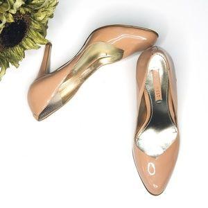 Nine West patent nude heels pumps